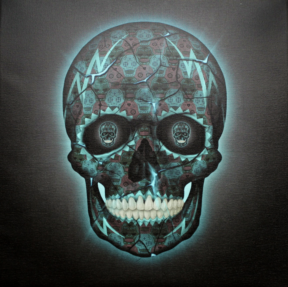 Skull Blue Canvas by Tessellation Art