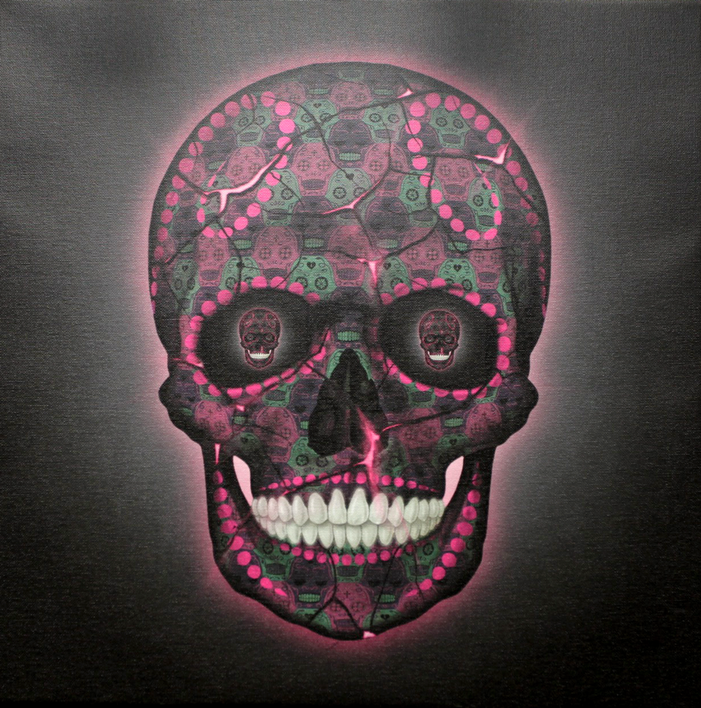 Skull Pink Canvas by Tessellation Art