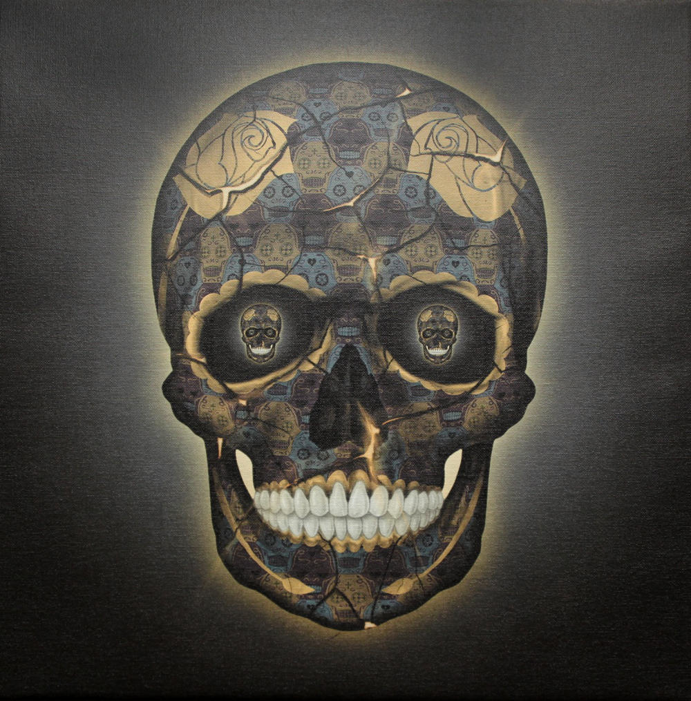 Skull Yellow Canvas by Tessellation Art