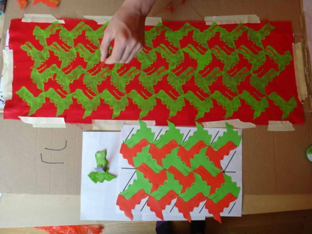Children creating and printing their own tessellating patterns